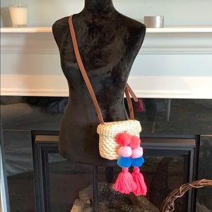 Handbags - Pom Pom straw crossbody with leather strap